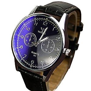 THINKBEST Fashion Faux Leather Staps Analog Digital Quartz Business Wrist Watch Black