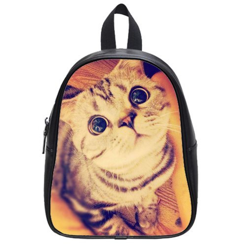 Fashion High-Grade Pu Leather Cute Cat School Book Travel Bag Backpack Daypack For Boys Girls Large