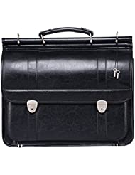 Ronts Men's PU Leather Front Lock Professional Tote Briefcase Laptop Bag