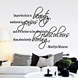 LUCKKYY®Imperfection Is Beauty ~ Marilyn Monroe Wall Sticker Quote Decal Quote Decals Wall Art Stickers Decal Home Decor Decorate