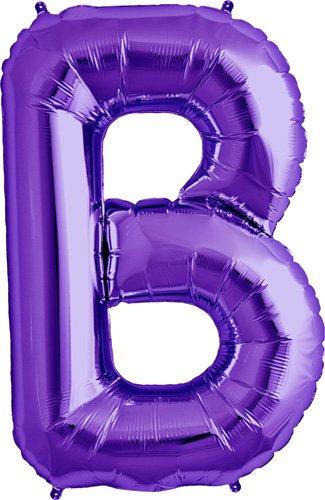 Letter B - Purple Helium Foil Balloon - 34 inch