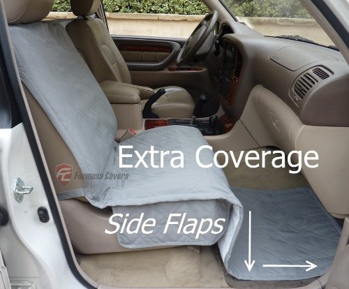 """Deluxe Quilted And Padded Single Car Seat Cover 21""""Wx72""""L Grey Color"""