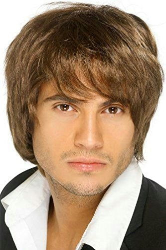 [Popcandy Men's Boy Band Brown Shaggy Wig] (Boy George 80s Costume)