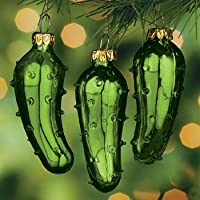 (12) One Dozen Hand Blown Glass Pickle Christmas Tree Ornaments for Good Luck Trim-A-Tree Stocking Stuffer or Gift Giving by OTC
