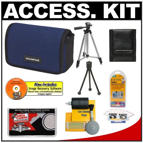 Olympus Water-Resistant Sport Neoprene Case (Navy Blue) + Tripod + Accessory Kit for FE-5010, FE-5040, FE-5050, Stylus 5010, 7010, 7030, 7040, 9010, TOUGH 8010, 6020, 3000 Digital Cameras