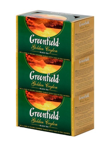 Greenfield Black Tea Collection - Golden Ceylon (25 Count Tea Bags) [Pack Of 3]