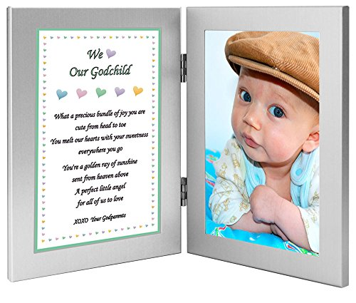 Baptism or Birthday Godchild Gift - Sweet Poem for Godson or Goddaughter From Godparents - Add 4x6 Photo