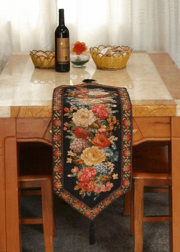 Tache Tapestry Country Rustic Floral Midnight Awakening Table Runners front-684507
