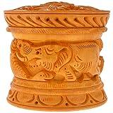Rajkruti Wooden handicraft handmade carved multipurpose box,sindoor dani - (7 cm x 7 cm x 6.5 cm)