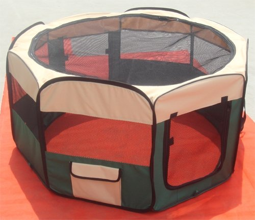 PET PLAY PEN FABRIC SOFT FOLDABLE PLAYPEN GREEN FOR DOG PUPPY RABBIT CAT SMALL 35 X 45cm 8 panels *BRAND NEW*