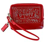 NEW AUTHENTIC COACH POPPY PATENT LEATHER SMALL WALLET WRISTLET (Ruby) Reviewed