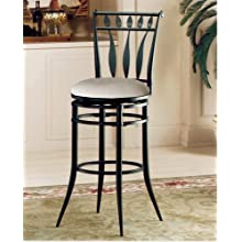 Hillsdale Hudson 30-Inch Swivel Bar Stool, Black Finish with Stone Faux-Suede Fabric