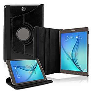SAVFY Samsung Tab A 9.7 Case(May 2015) Rotating PU Leather Cover Case for Samsung Galaxy Tab A 9.7 T550 with Smart Auto Wake/Sleep function+Screen Protector+ STYLUS(Black)