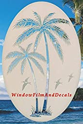 Leaning Palm Trees Oval Etched Window Decal Vinyl Glass Cling - 15\