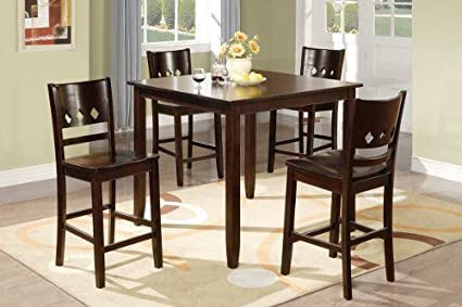 5pc Counter Height Dining Set Contemporary Style in Walnut Finish