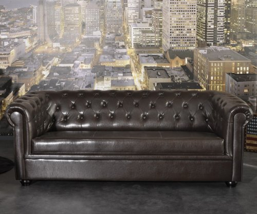 Sofa Chesterfield 200x90 cm Braun Design Couch Abgesteppt 3-Sitzer