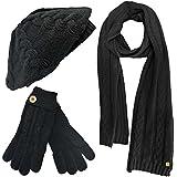 Luxury Divas Cable Knit Beret Hat Scarf & Glove Set