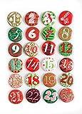 24 Adventskalender Buttons in rot grün; Adventskalenderzahlen zum selber basteln; 1 bis 24; Sticker aus Alu mit einer Nadel hinten; 1a Qualität!