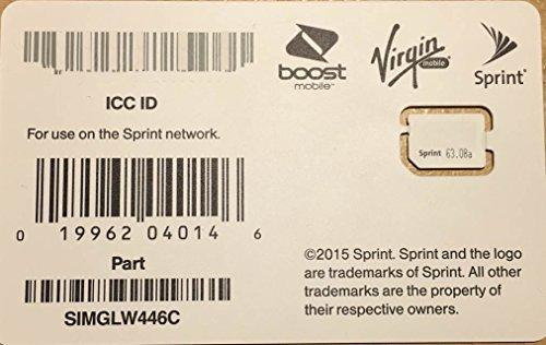 Sprint Boost Virgin Mobile Nano SIM Card ICCID SIMGLW446C (Virgin Mobile Nano Sim Card compare prices)