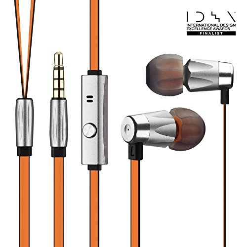 """GGMM Alauda """"Lifetime Warranty"""" Dynamic Dual Drivers, Lightweight & Sporty In Ear Noise Isolating Full Metal Headphone w/ Tangle Free Cable and Microphone,Orange"""