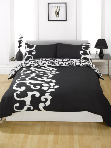 Dreamscene Chelsea Duvet Cover, Black, Single