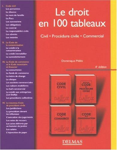 Le droit en 100 tableaux : Civil, Procédure civile, Commercial