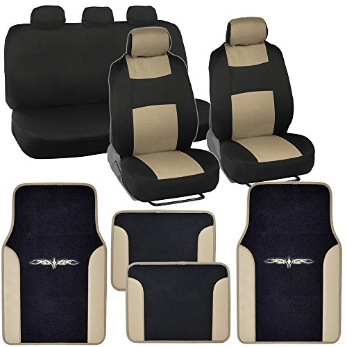 PolyCloth Car Seat Covers Black & Beige Tan Two-Tone Classic & Vinyl Trim PU Leather/Carpet Floor Mats for Auto (2006 Dodge Ram Camo Seat Covers compare prices)