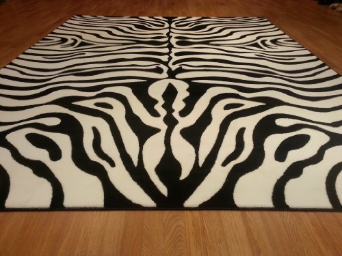 E506 Contemporary Modern Transitional Zebra Black White 5x8 Actual Size 5'3x7'2 Rug