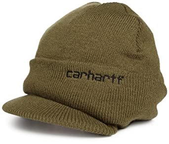 Carhartt Men's Knit Hat With Visor, Army Green, One Size