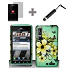 (3 Items Combo : Case - Screen Protector Film - Stylus Pen) Rubberized Green Natural Flower Snap on Design Case Hard Case Skin Cover Faceplate for Motorola Droid 3 / Xt862 Verizon