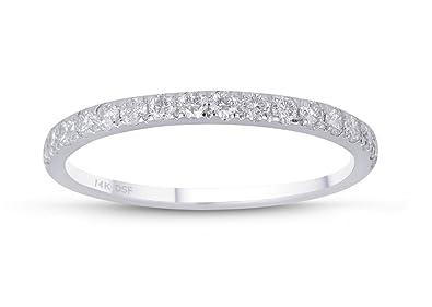 Diamond Studs Forever - 3/8 Carat Total Weight Diamond Wedding Band GH/I1 14K White Gold