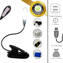 Rechargeable USB Reading Lamp for Bed - Portable Book / eReader Light - 4 Super Bright LED - Travel Bag, Charger & XLarge Cable - Lightweight Christmas Gift for Dad & Mom by Ecologic Mart
