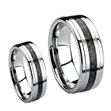 His & Hers 8mm/6mm Tungsten Carbide Wedding Band Ring Set / Black Carbon Fiber Inlay Sizes 5-15 Including Half Sizes