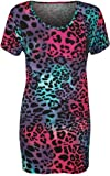 Womens Plus Size Animal Leopard Print Short Sleeve Ladies Long T-Shirt Top - Sizes 14 - 28