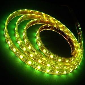 LEDwholesalers 16.4 feet 300 SMD LED Flexible Strip with Waterproof Sleeve, 12 Volt LED Ribbon 5 Meter Reel Green, 2047GN