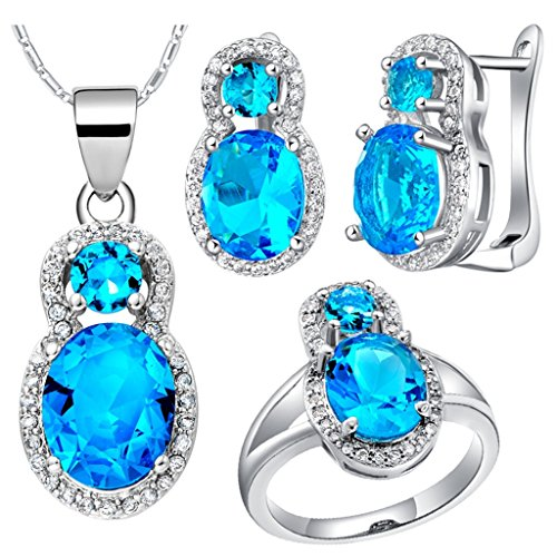 Epinki, Platinum Plated Fashion Jewelry Set Pendant Necklace Rings Earrings Zircon Size 6