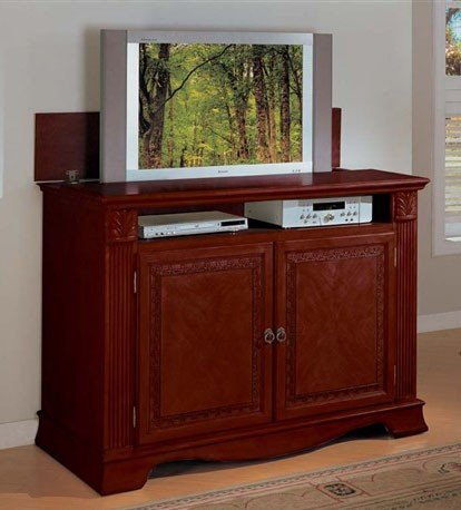 Cheap Entertainment Console Table with TV Lift Cherry Finish (VF_AM2079)