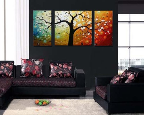 Sangu 100% Hand Painted Wood Framed 3-Piece Hot Sale Modern Colorful Tree People For Abstract Oil Painting Gift Canvas Wall Art For Home Decoration