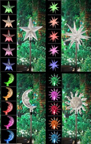 4 Pcs/Set Solar Power Yard Stake ,Sun&Moon&Star&Starburst