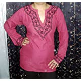 Hotpink Ladies Tunic with Black Hand Embroidered Blouse