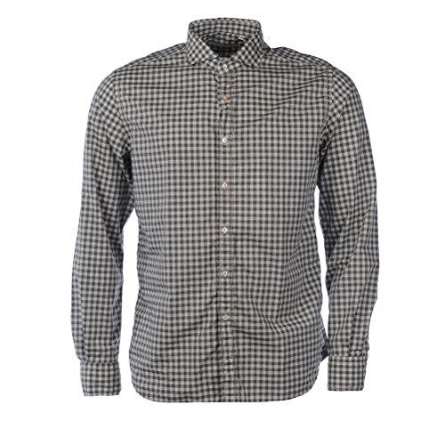 XACUS-T-Shirt da uomo, motivo a scacchi, a maniche lunghe Green & White