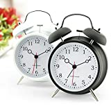 "4"" Best Alarm Clock +Night-light + Twin Bell +Battery Saving + Precise Time for heavy sleepers/ kids ( Cool Black)"