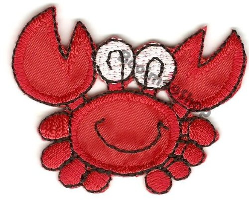 Crab Logo Embroidered Iron Patch T-shirt Sew Product of Thailand