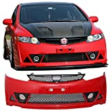 Pre-painted Front Bumper Cover Fits 2006-2011 Honda Civic | Mugen RR Style Milano Red Painted # R81 PP Front Lip Spoiler Diffuser Cover Guard by IKON MOTORSPORTS | 2007 2008 2009 2010