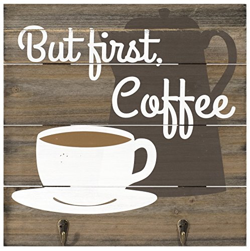 """Malden International Designs Rustic Wall Sign But First Coffee Two Metal Hook Attachments Silkscreened Pallet Wood Sign, 12"""" x 12"""", Barnwood"""