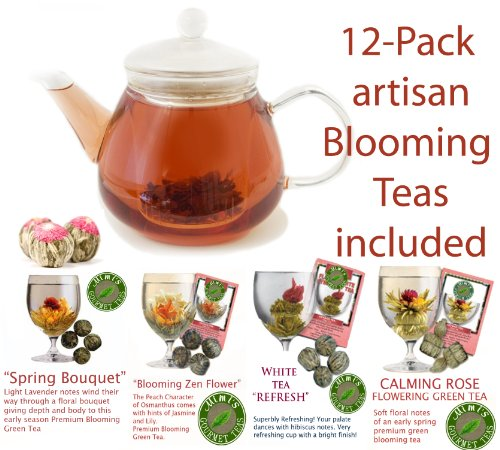 Grosche Glasgow Infuser Teapot & Kettle With 12 Blooming Tea Gift Set