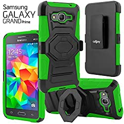 Galaxy Grand Prime Case, CellJoy [Ultra Rugged] {Lime} Samsung G530 Case **ShockProof** Reinforced Impact Shield Bumper Protection Hybrid Cover **Kickstand** [Locking Swivel Belt Clip Holster Combo]