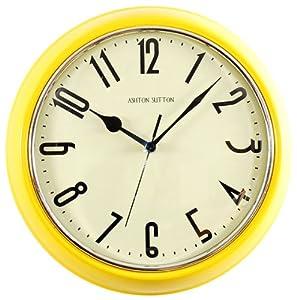 ashton sutton wall clock retro yellow kitchen home