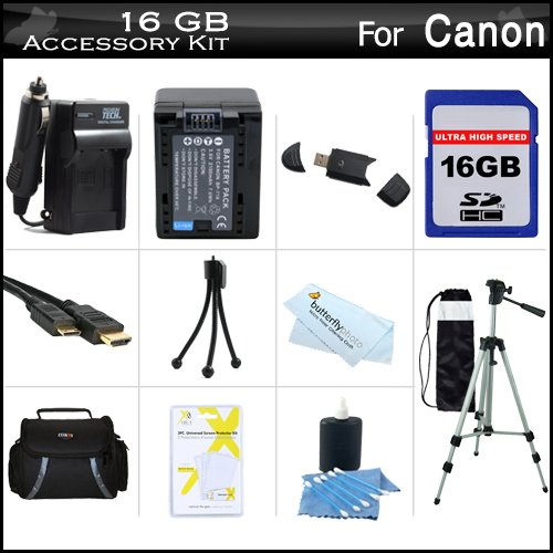 16GB Accessory Kit For Canon VIXIA HF R52, HF R50, HF R500, HF R42, HF R40, HF R400 Digital Camcorder Includes 16GB High Speed SD Memory Card + Extended Replacement (2000Mah) BP-718 Battery + Ac/Dc Charger + Case + 50 Tripod + Mini HDMI Cable + More