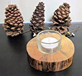 Single Natural Wood Candle Holder 1 Glass Votive Holder and Candle